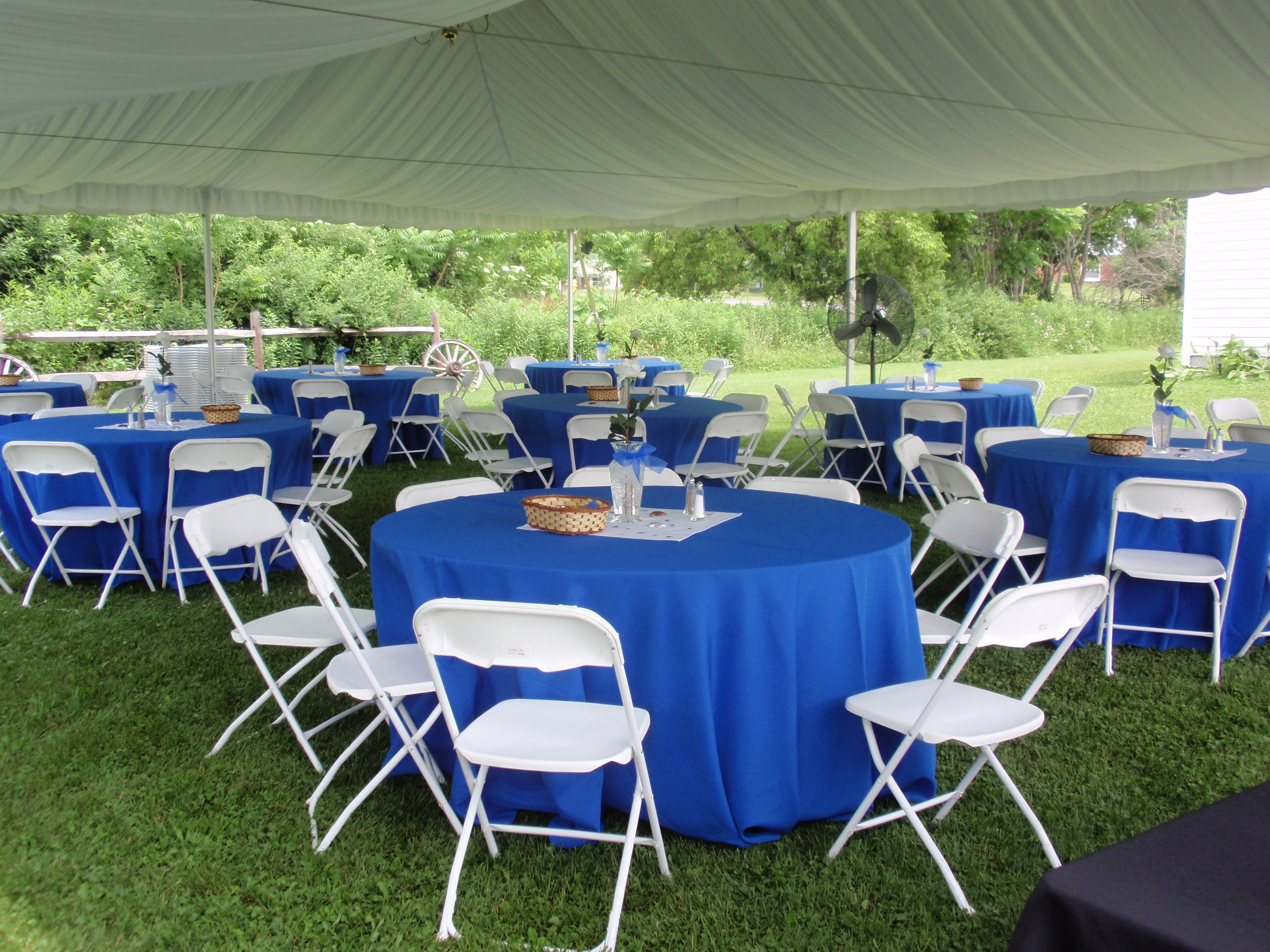 Bright Blue Tables